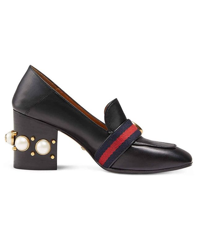 Gucci Peyton Square-Toe Block-Heel Pump