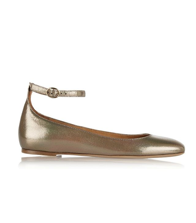 Étoile Isabel Marant Lili Metallic Textured Leather Ballet Flats