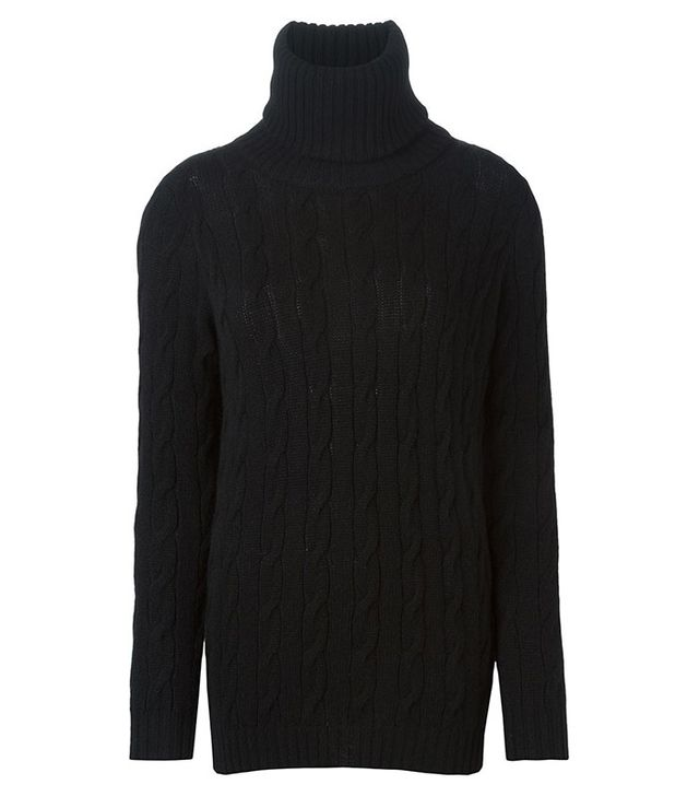 Ralph Lauren Black Cable Knit Turtleneck Sweater