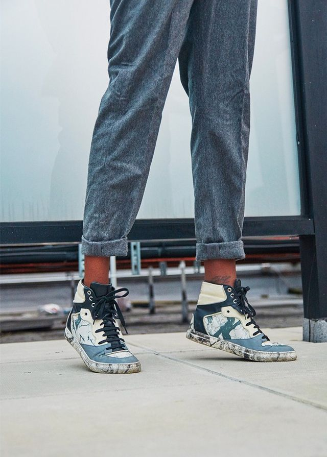 Balenciaga Leather High Top Sneakers (£385) available in Grey Marble-Effect