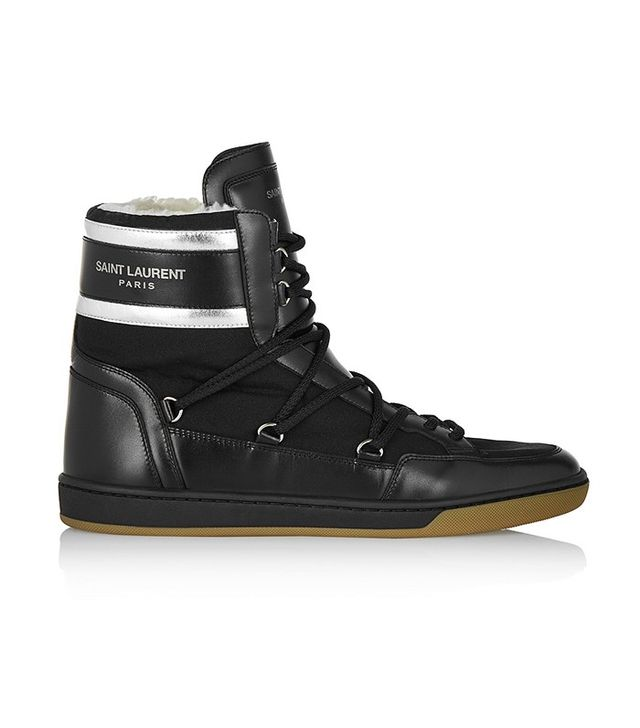 Saint Laurent Faux Shearling-Lined Leather Sneakers