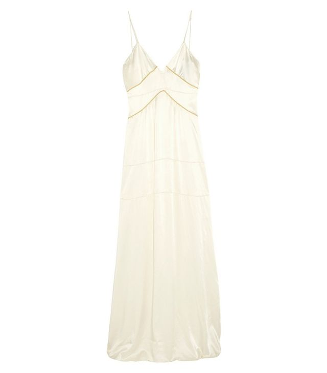Burberry Prorsum Metallic-Trimmed Silk-Satin Gown