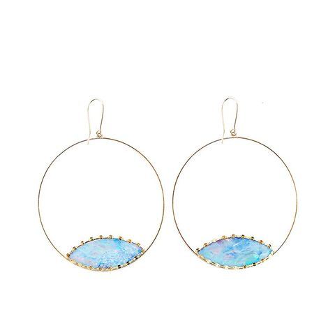 Frosted Gold Boulder Opal Eclipse Earrings