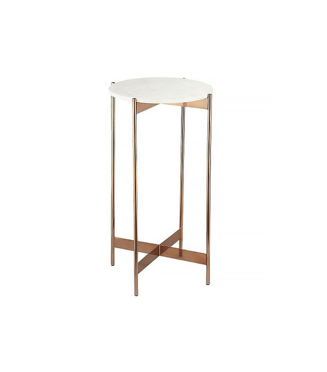 CB2 Marble Rose Gold Pedestal Table