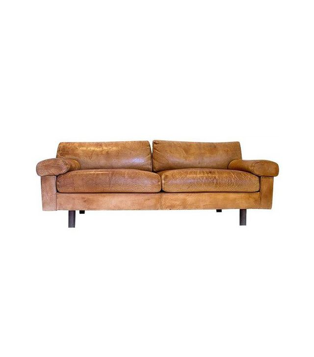 Chairish Vintage 1970s Brown Leather Sofa