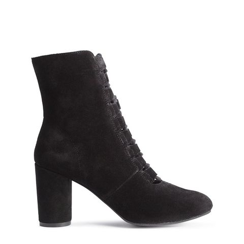 Suede Ankle Boots With Lacing