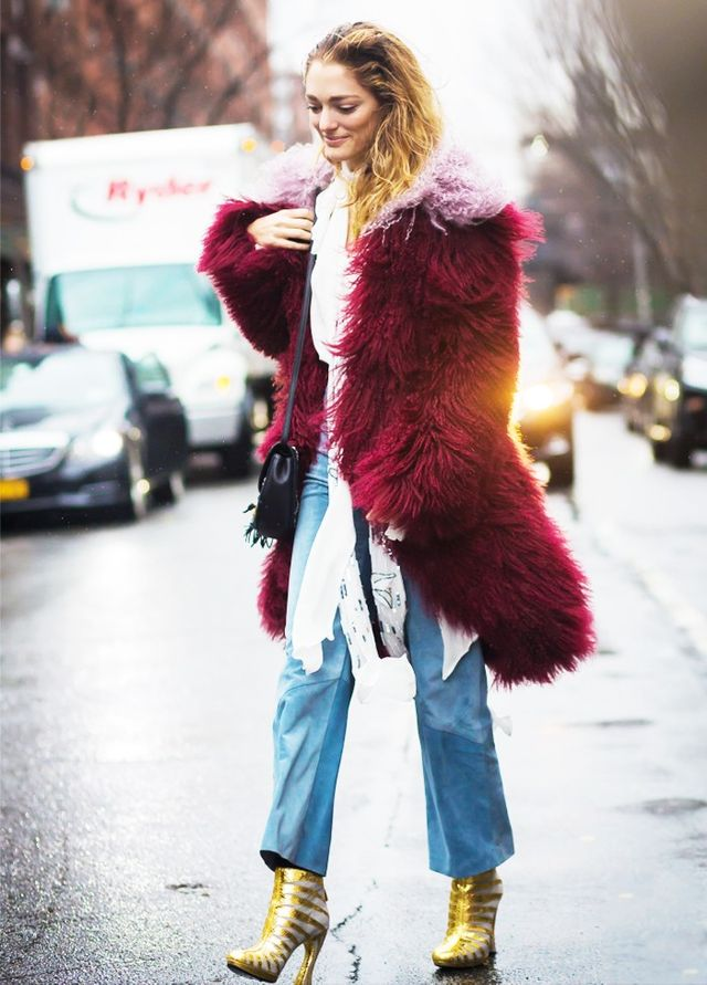 On Sofia Sanchez: Vetements jeans (shop similar style); Sonia Rykiel coat.