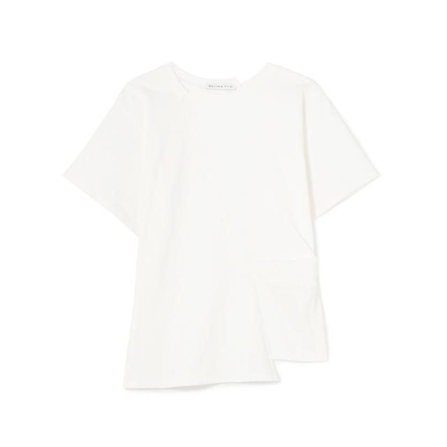 monochrome: Rejina Pyo Sabrina Pleated Cotton-Jersey T-shirt