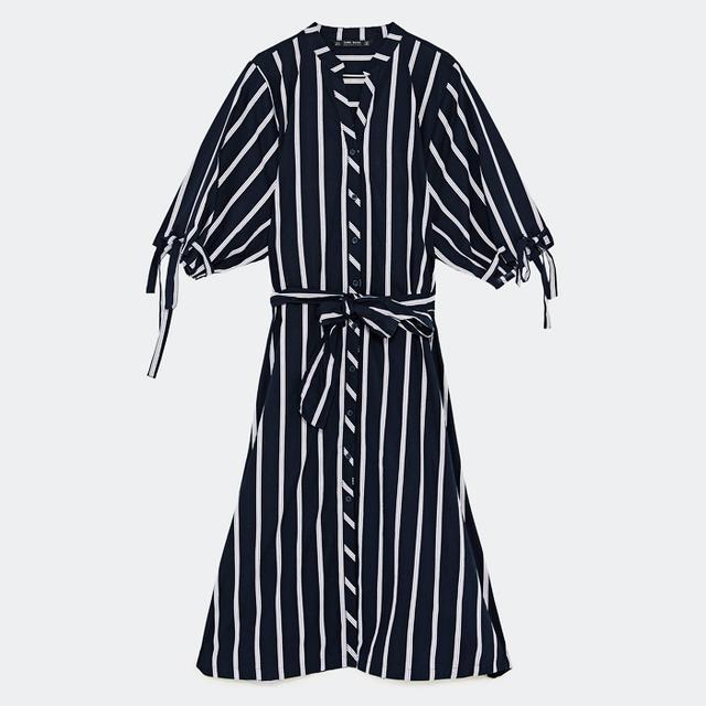 monochrome: Zara Asymmetric Striped Dress
