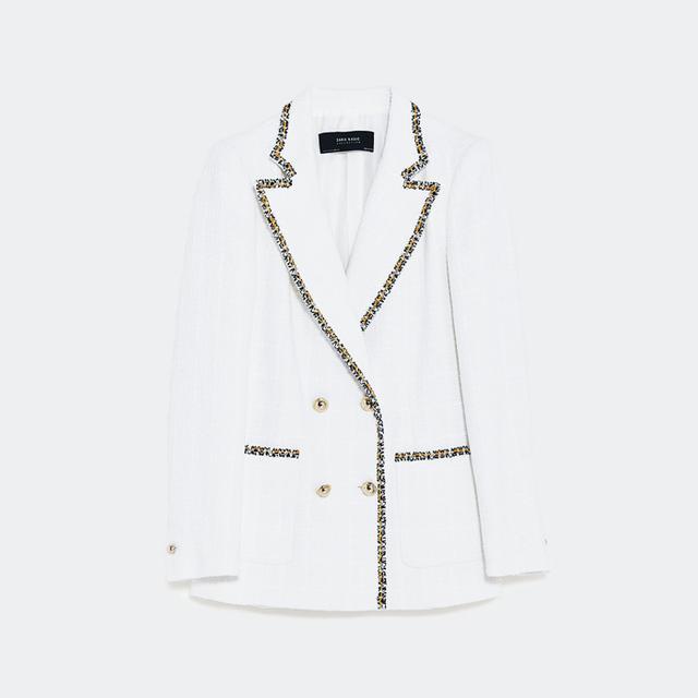 monochrome: Zara Double-Breasted Blazer With Textured Weave