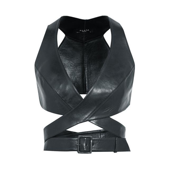 monochrome: Alaïa Leather Wrap Bra Top