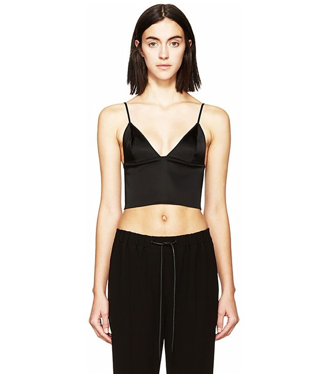 T by Alexander Wang Navy Satin Finish Bustier