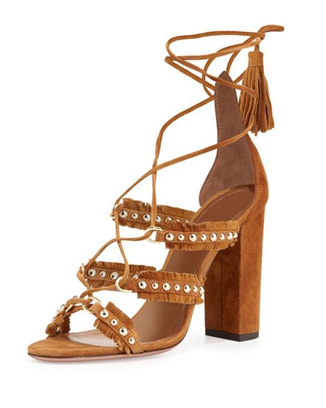 Aquazzura Tulum Fringed Suede Sandals