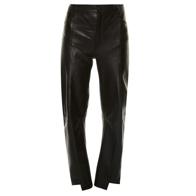 Vetements Cut-Out Hem Panelled Leather Trousers