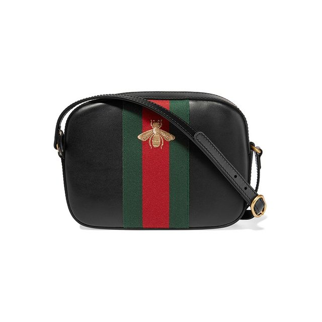 Gucci Linea G 2 Canvas-Trimmed Leather Shoulder Bag