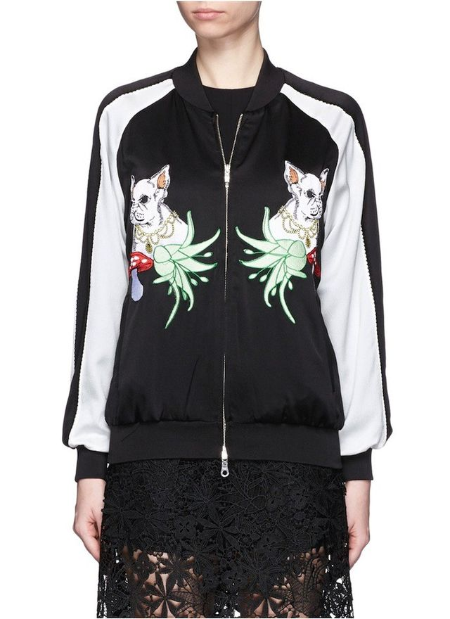 Helen Lee French Bulldog Appliqué Silk Bomber Jacket