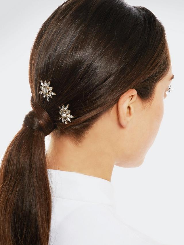 Jennifer Behr Thea Gold-Tone Swarovski Crystal Hair Slides