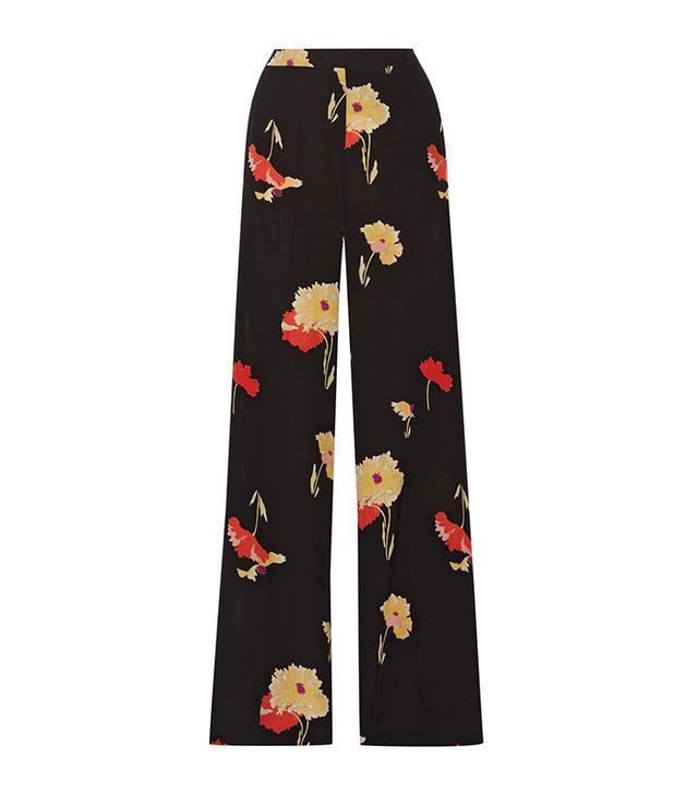 Printed Silk-crepe Wide-leg Pants