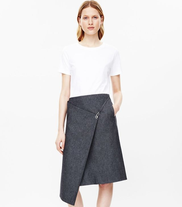 COS Fold-Over Denim Skirt