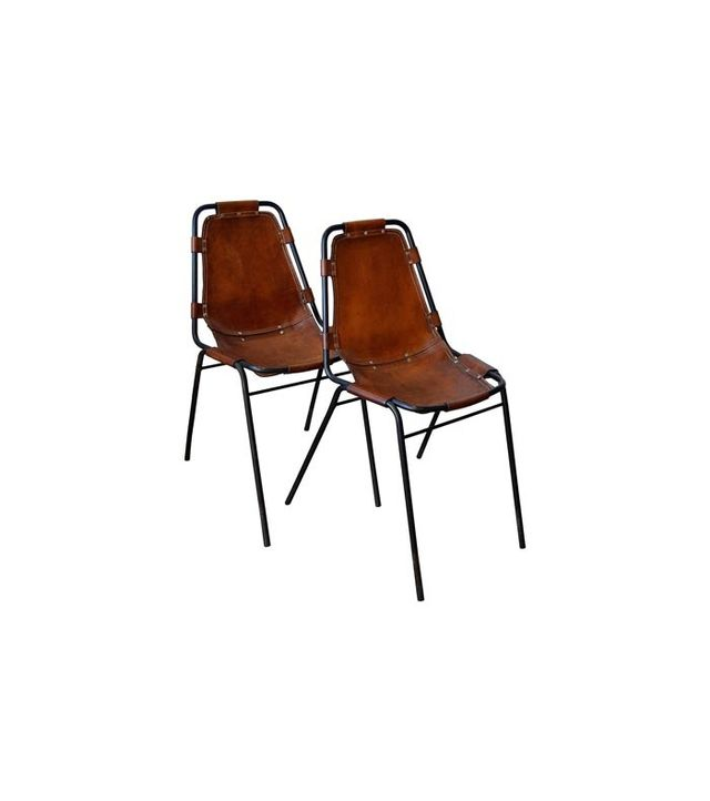 "1stdibs Charlotte Perriand ""Les Arcs"" Metal and Leather Side Chairs"