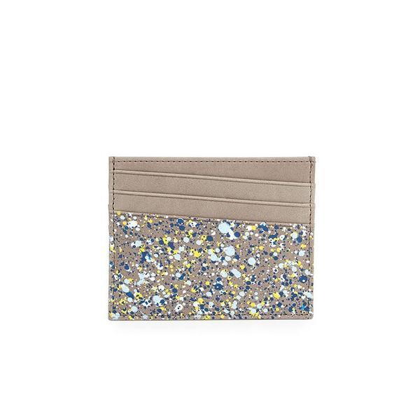 Maison Margiela Gray Paint-Splatter Leather Card Case