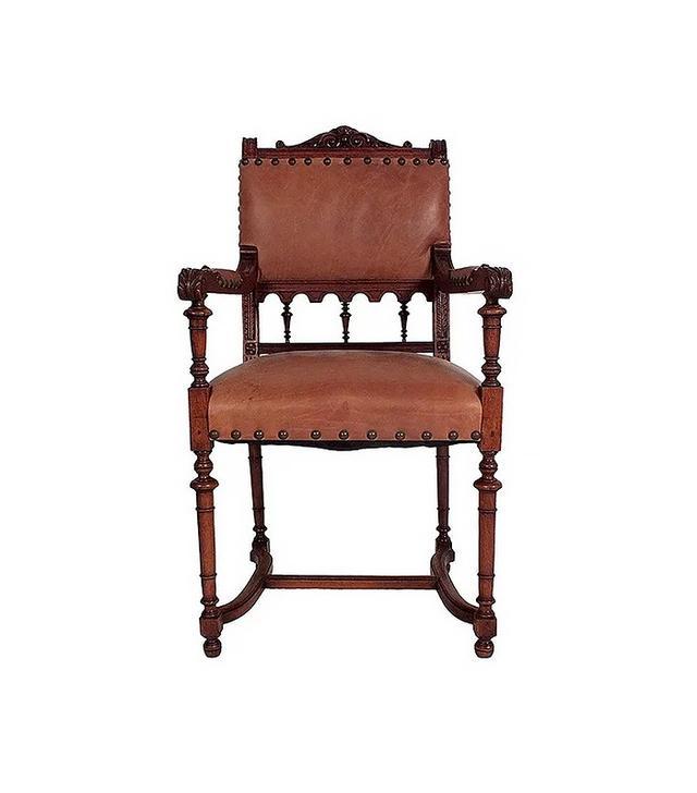 Castle Antiques & Design Leather Renaissance Revival-Style Chair