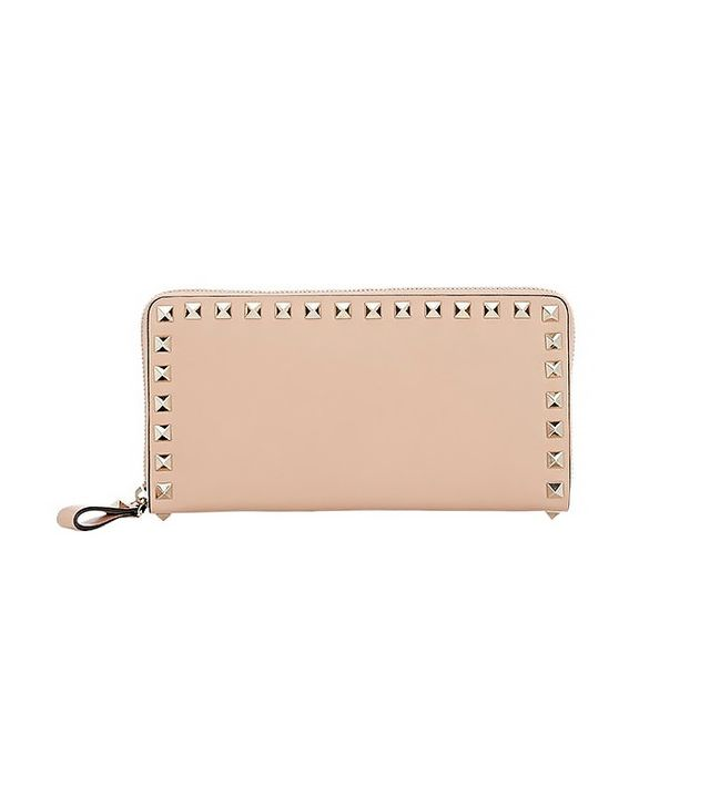 Valentino Rockstud Zip-Around Wallet