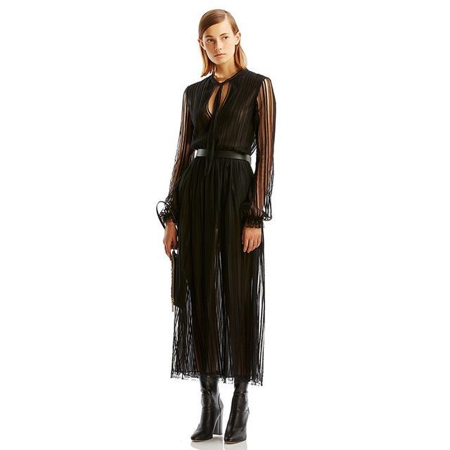 Scanlan Theodore Lace Striped Dress