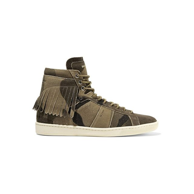 Saint Laurent Fringed Distressed Suede High Top