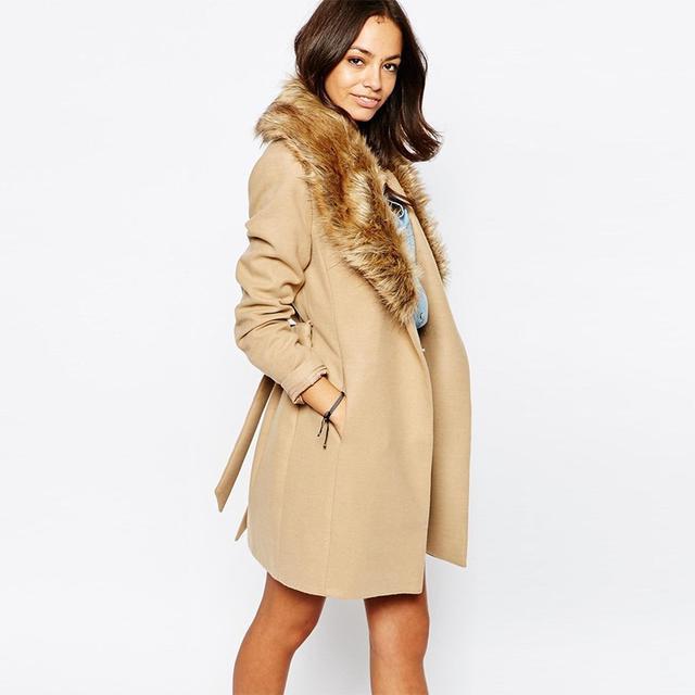 New Look Faux Fur Collar Coat