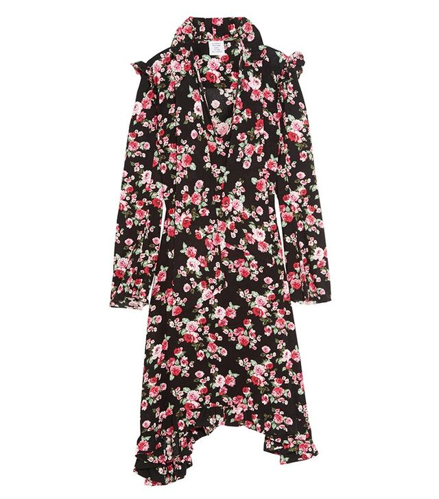 Vetements Ruffle-Trimmed Floral Crepe Midi Dress