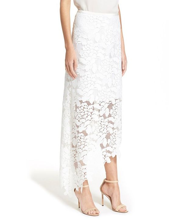 Tibi Asymmetrical Lace Midi Skirt