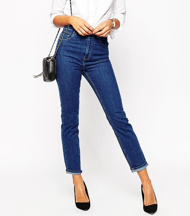 ASOS Farleigh High Waist Slim Mom Jeans in Juniper Wash