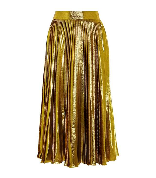 Gucci Metallic Pleated Silk Blend Midi Skirt