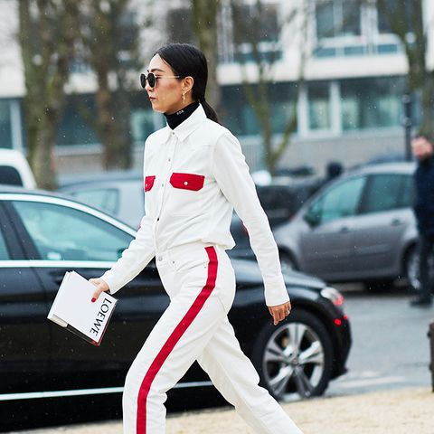 white shoes trend: Pandora Sykes chose white boots to wear with her jeans