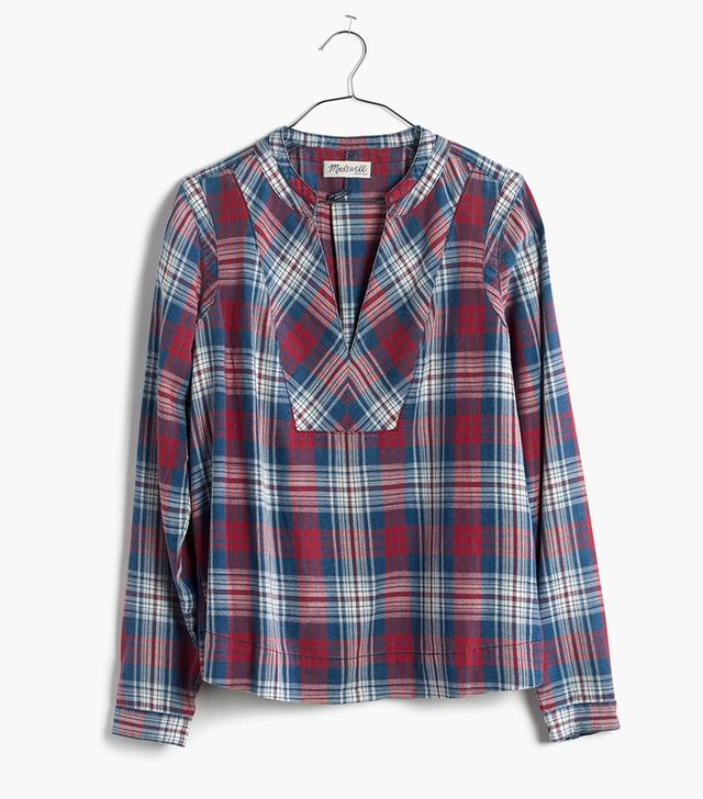Madewell Indigo-Dyed Popover Shirt in Casey Plaid