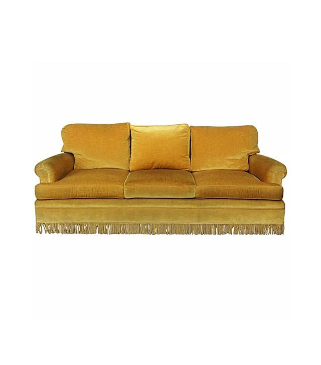 Gold Velvet Sofa With Fringe