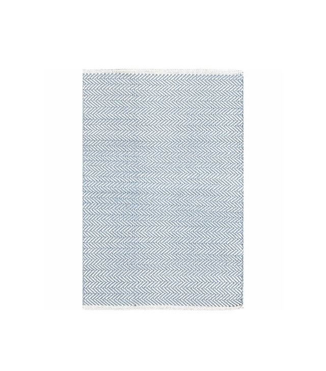 Dash & Albert Herringbone Swedish Blue Woven Cotton Rug