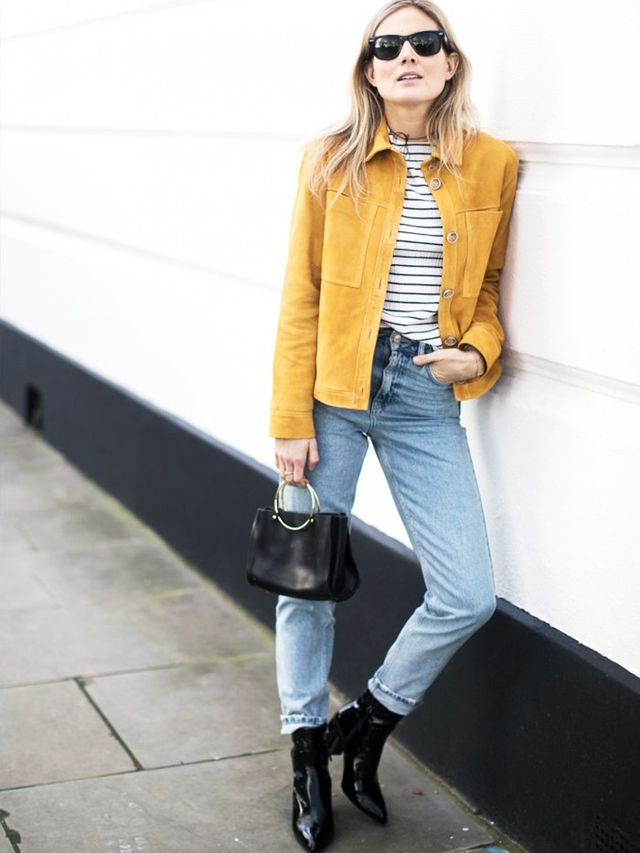 On Lucy Williams:Topshop Boutique Suede Harrington Jacket(£195); Topshop Pearlised Stripe Top(£26),Moto Mid-Blue Mom Jeans(£40) andHamptons...