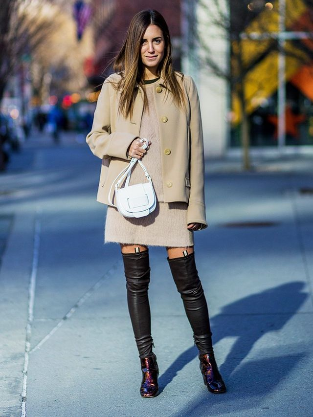 On Gala Gonzalez:Calvin Klein Collection jacket, bag and boots.