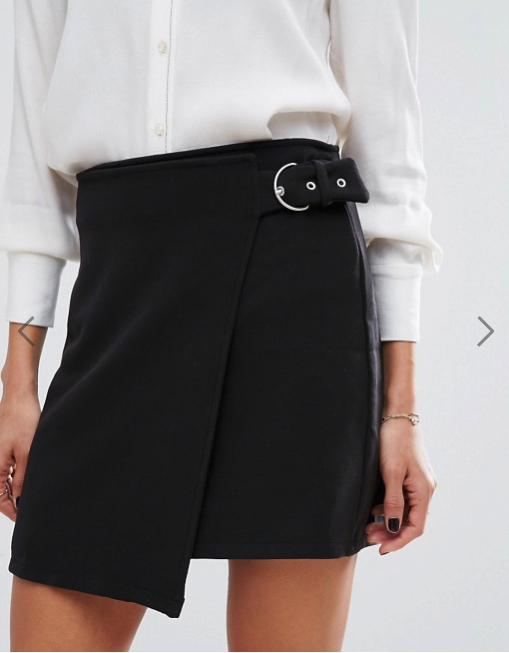 Mango Wrap Front Buckle Skirt