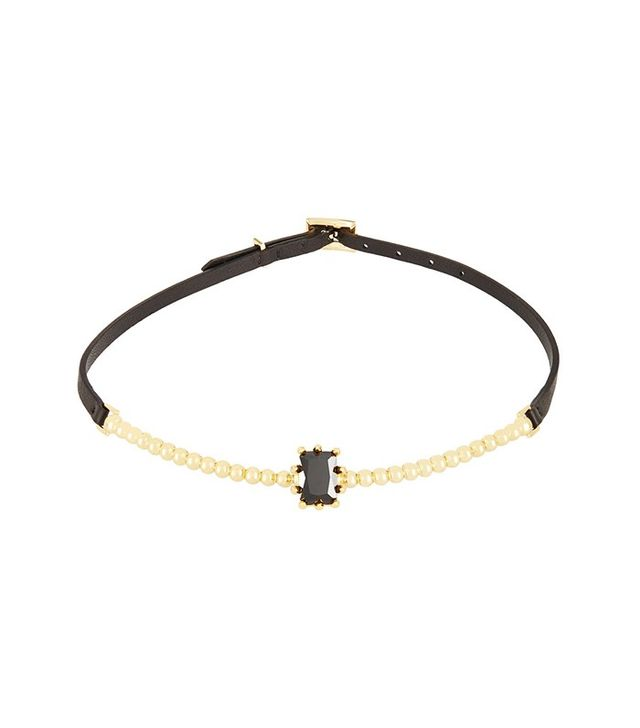Eddie Borgo Come Estate Gold-Plated, Crystal and Leather Necklace