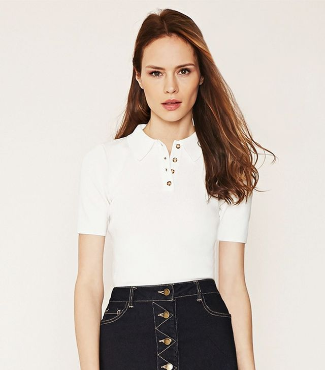 Forever 21 Contemporary Textured Knit Polo