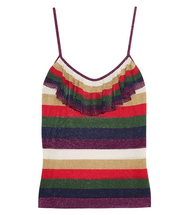 Gucci Ruffled Metallic Knitted Camisole