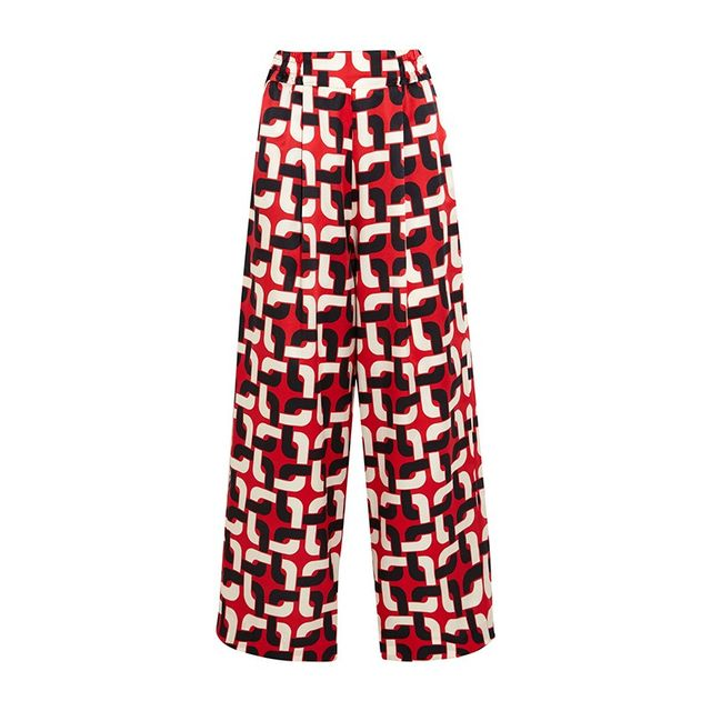 F.R.S For Restless Sleepers Printed Cotton-Silk Wide Leg Pants