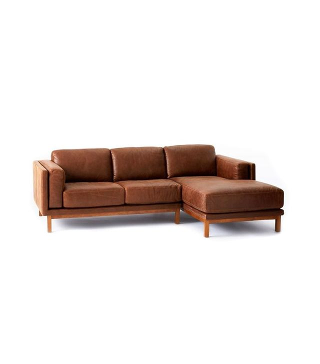 West Elm Dekalb Leather 2-Piece Chaise Sectional
