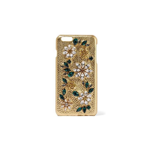 Dolce & Gabbana Swarovski crystal-embellished metallic textured-leather iPhone 6 Plus case