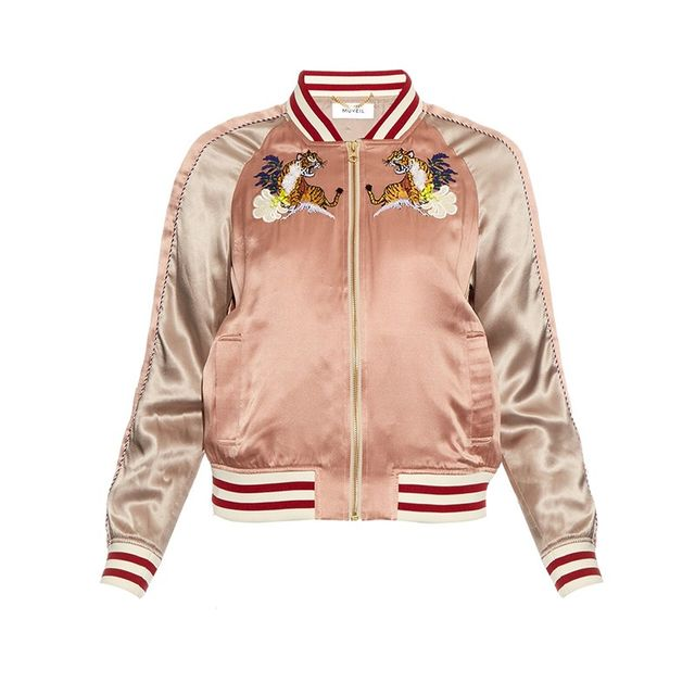 Muveil Embroidered Silk Bomber Jacket