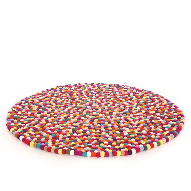 Happy as Larry Multicolour Felt Ball Rug