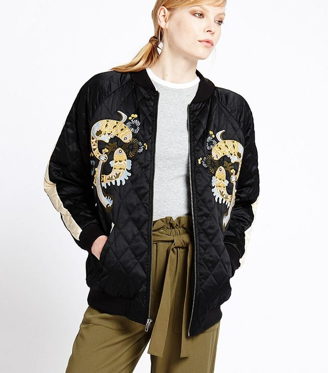 M&S Quilted Oriental Bomber Jacket